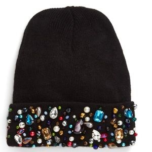Soft Knit Beanie W Crystal & imitation pearl trim